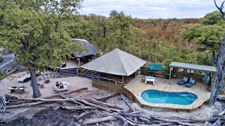 Aerial view of Hyena Pan Lodge and swimming pool
