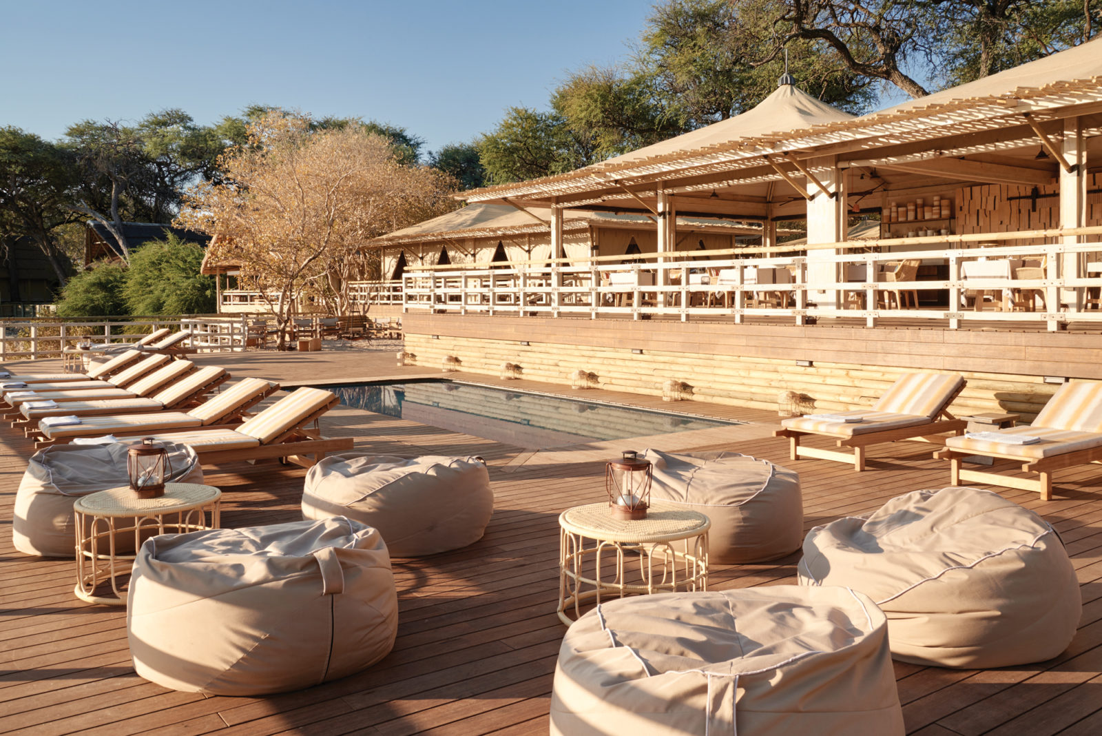 Savute Elephant Lodge main area and swimming pool sun deck