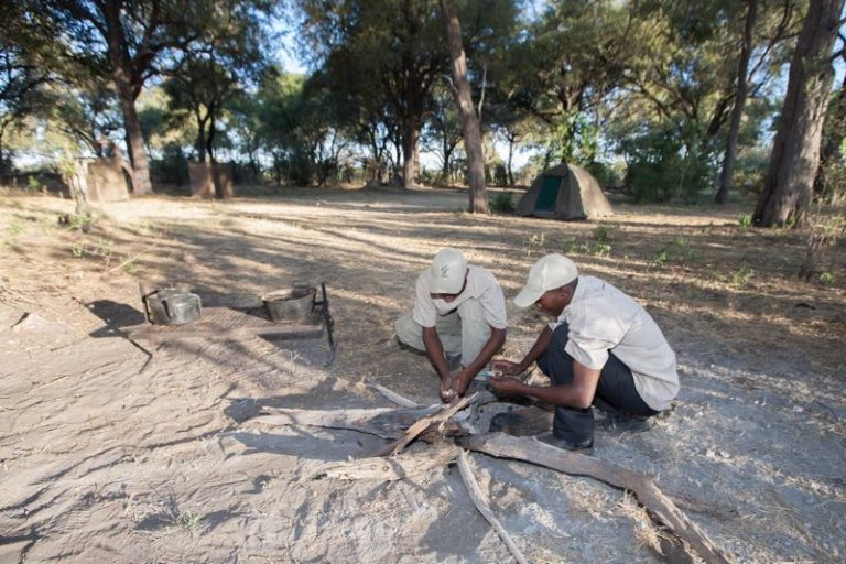 Setting up the camp fire before dinner at Bush Ways Safaris