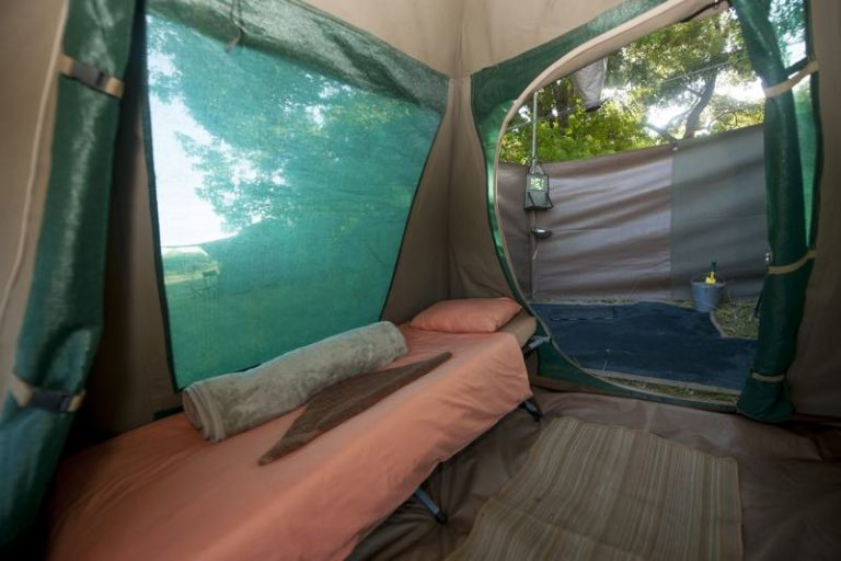 Fully serviced guest tents have mattresses and all necessary bedding
