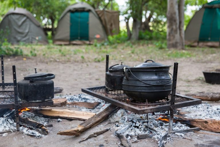 Meals are cooked over the camp fire at Bush Ways Camp site