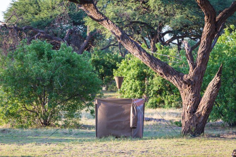The shower room on a semi participation safari with Bush Ways Safaris