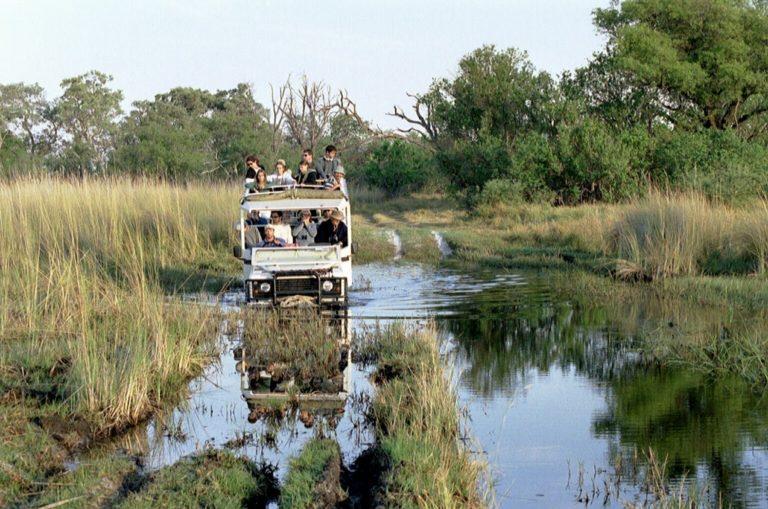 Water crossing in the Okavango in a Bush Ways Safari vehicle