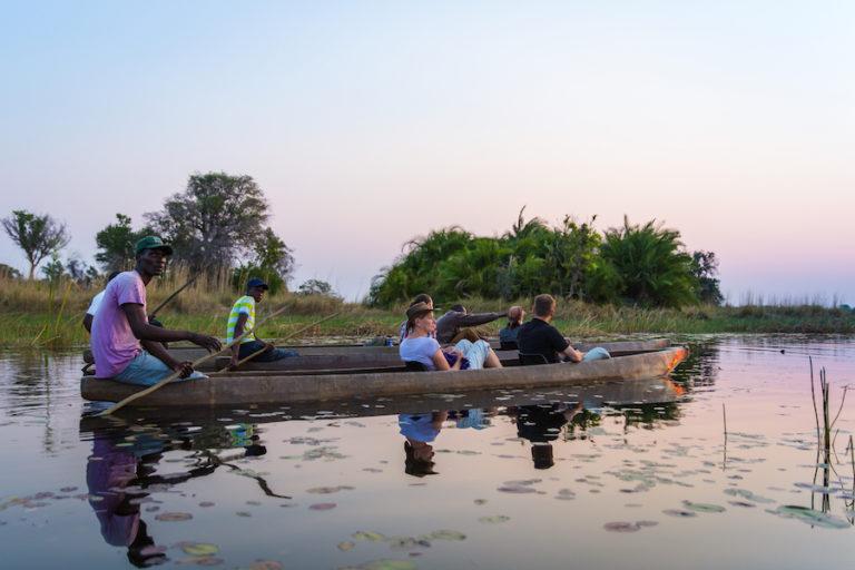 A Bush Ways mokoro excursion in calm Okavango waters