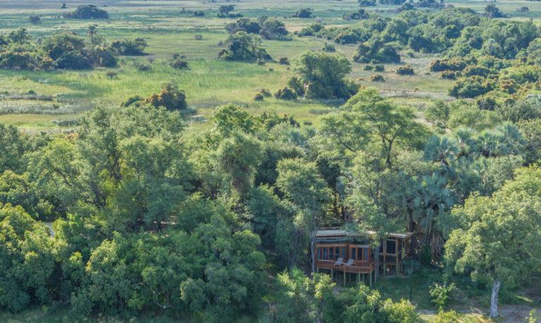 Aerial view of Camp Okavango located on Nxaragha Island