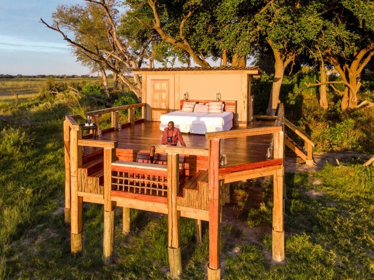 The beautifully designed sleep-out deck at Camp Okavango