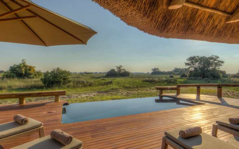 Swimming pool on the edge of the Delta at Camp Okavango