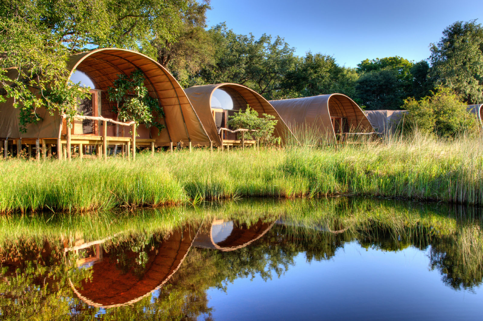 Camp Okuti allows for easy access to the heart of Moremi Game Reserve