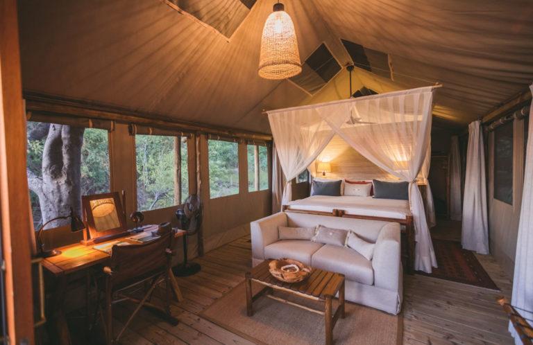 Interior view of Camp Xakanaxa guest tent