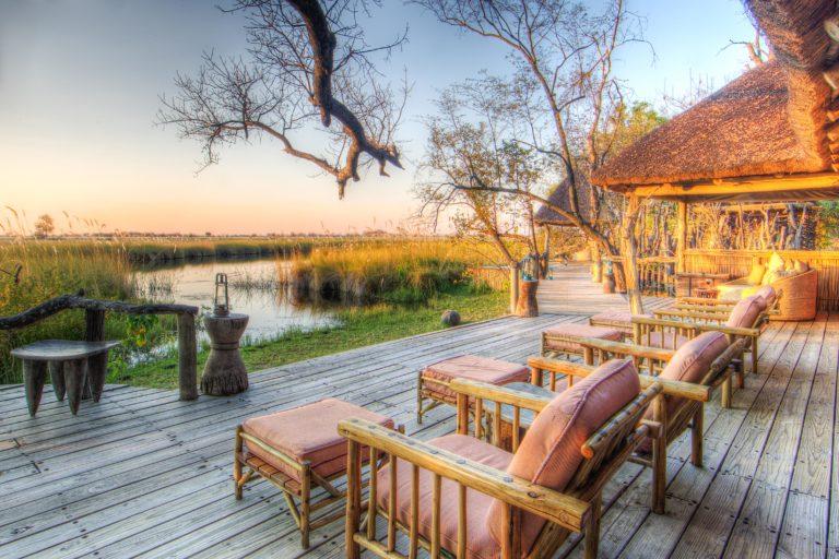 Relaxing sun loungers on the main deck at Camp Xakanaka