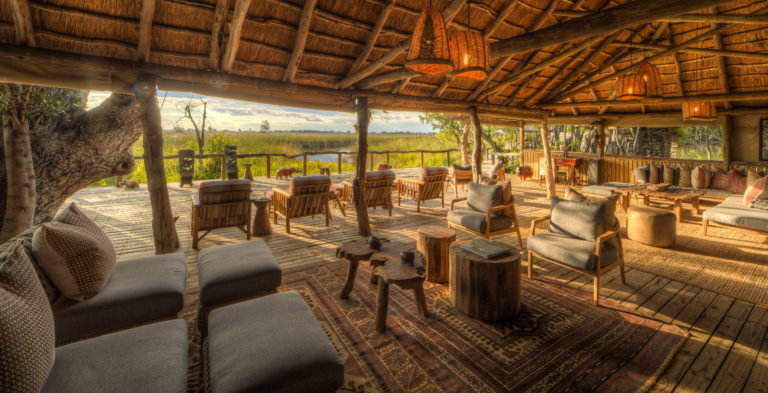 Main thatched lounge area at Camp Xakanaxa