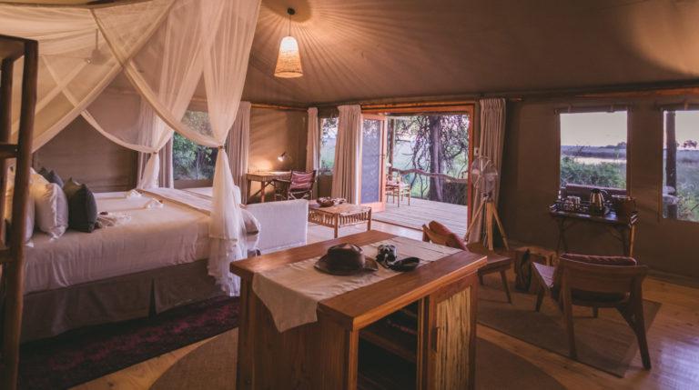The layout of the family room at Camp Xakanaxa