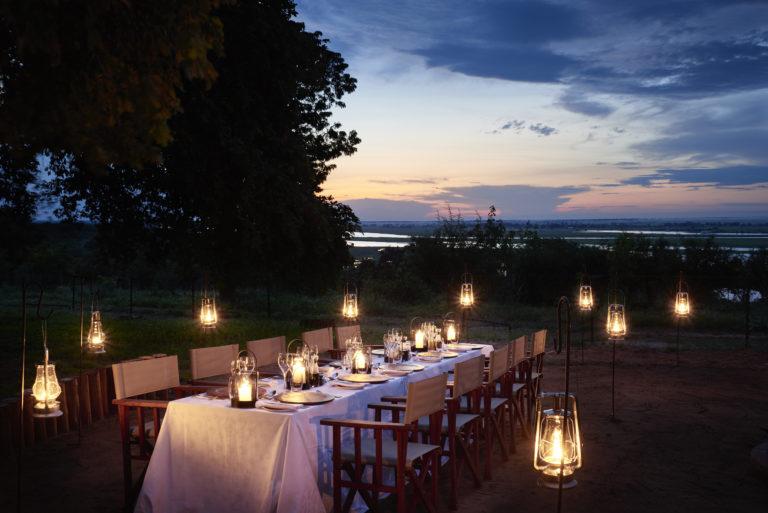 Al Fresco bush dinner prepared for Chobe Chilwero guests