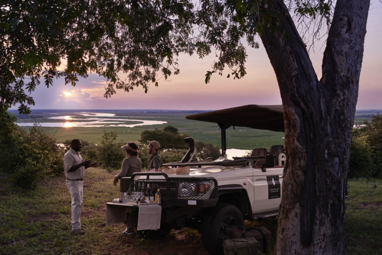 Idyllic sundowner spot on game drive from Chobe Chilwero