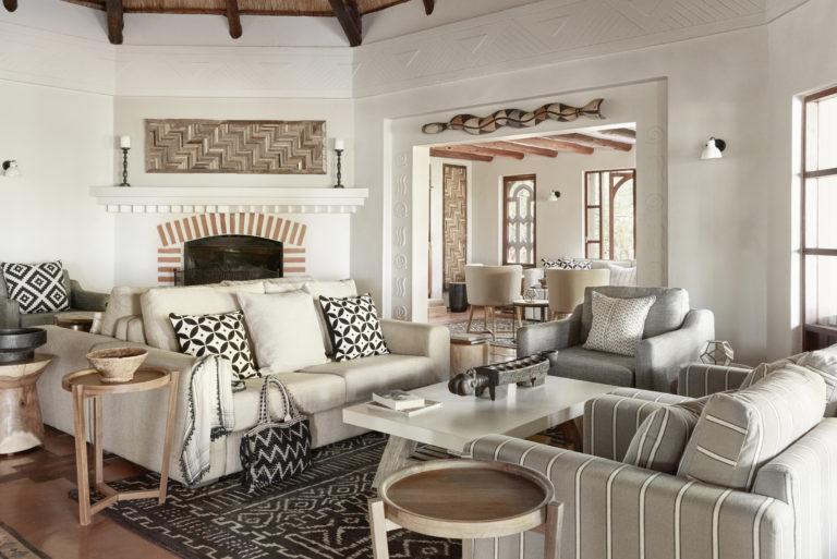 Chobe Chilwero's main lounge area has an outdoor viewing veranda