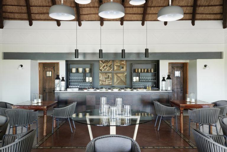 The spacious stylish lounge area at Chobe Chilwero
