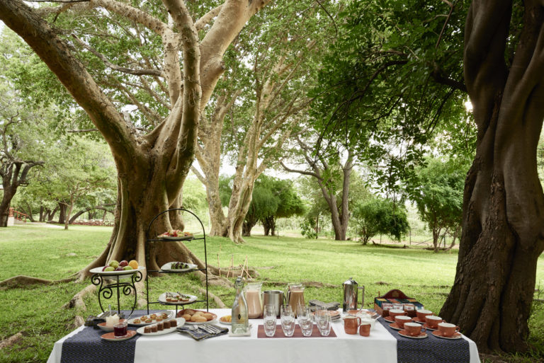 A delicious high tea is served mid afternoon at Chobe Chilwero Lodge