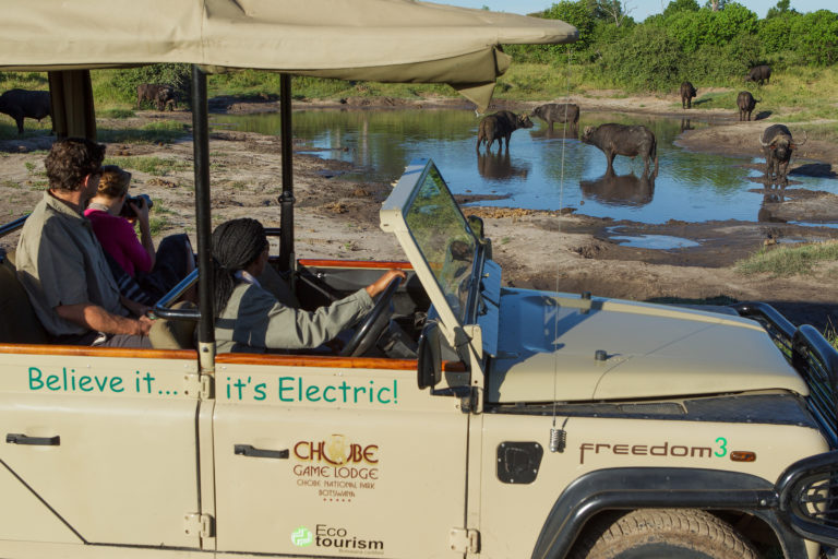 Chobe Game Lodge's electrically powered game drive vehicle