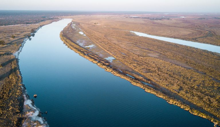 Aerial view of a smooth Chobe River