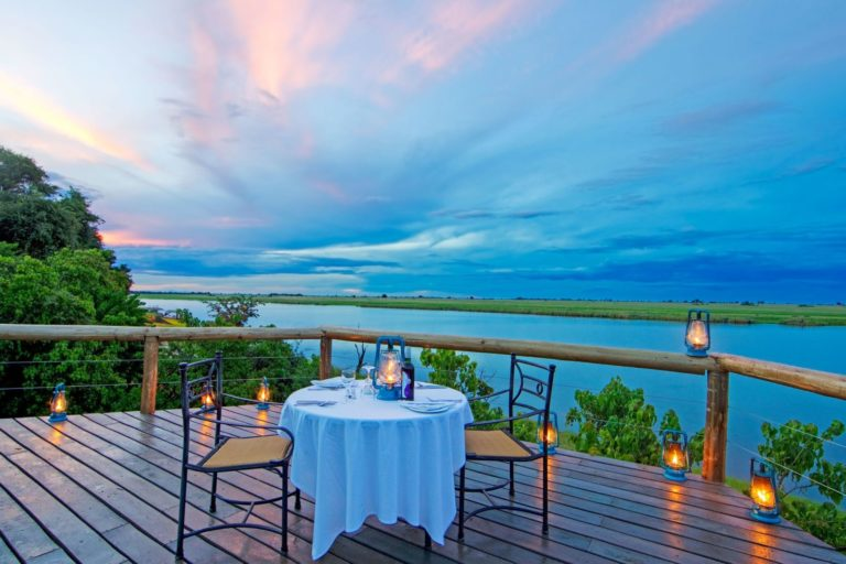 Dinner for two on deck courtesy of Chobe Game Lodge