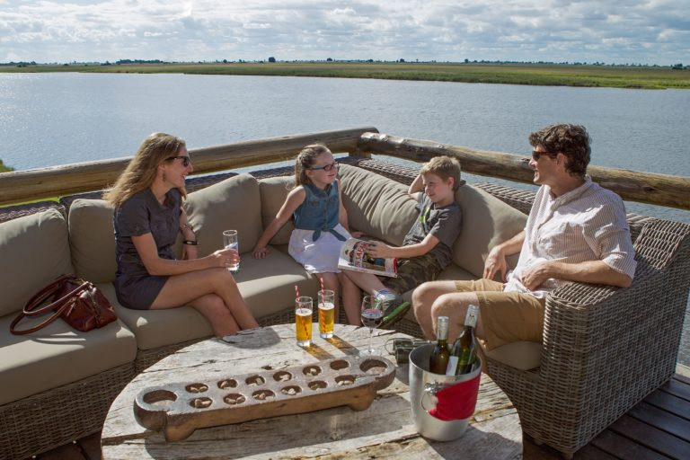 Drinks at the outdoor lounge at Chobe Game Lodge