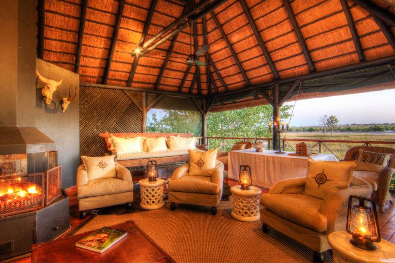 The comfortable upstairs lounge area at Chobe Savanna