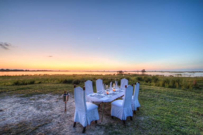 Elegant bush dinner set up courtesy of Chobe Savanna Lodge