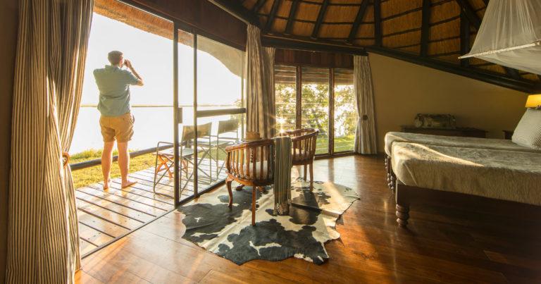 Peek at Chobe Savanna's spacious guest room interior and private deck