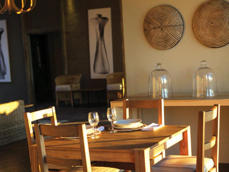 The dining room set up at Shakawe River Lodge