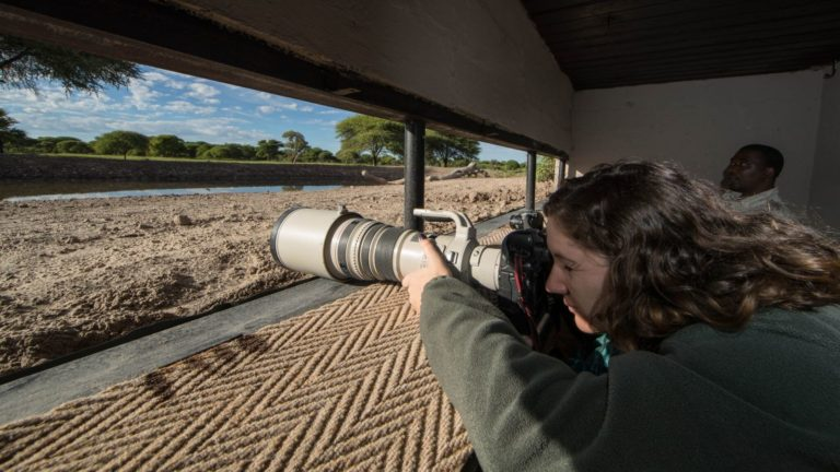 Waiting for the perfect image at Dinaka's waterhole photographic hide