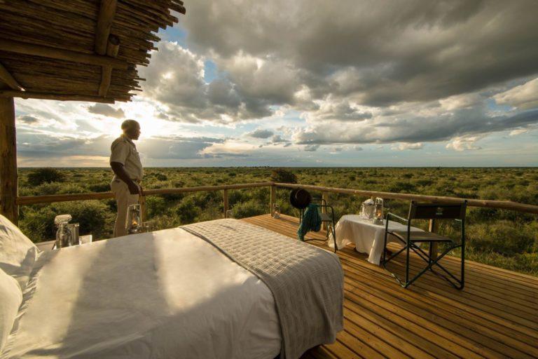 Dinaka Camps sleep out deck has magnificent views