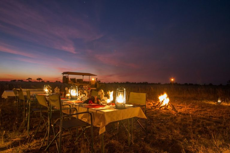 A romantic bush dinner at Lagoon Camp against African skies