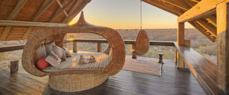 The gorgeous view from the upstairs deck at Feline Fields Kalahari