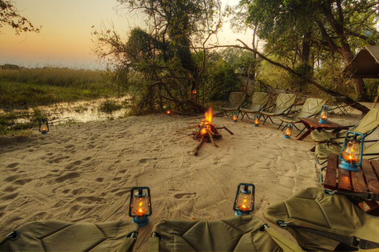 Natural Camp Fire in wild setting at Footsteps across the Delta