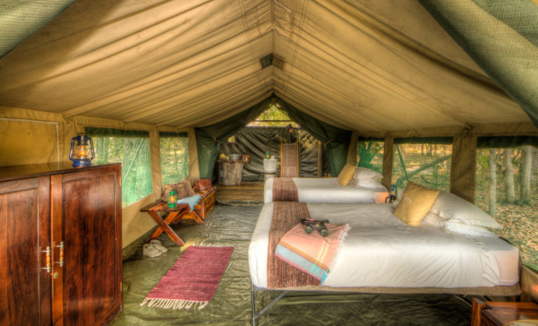 The comfortable Meru style twin bedded tents at Footsteps Camp