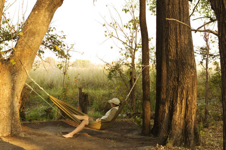 Moments of silence in a hammock at Footsteps in the Delta