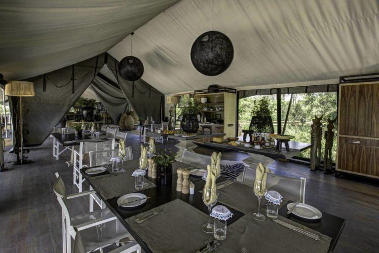 Gomoti Plains main area has a classic Safari Camp feel