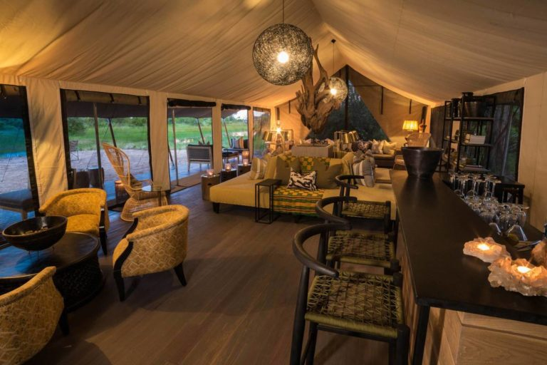 The camp lounge area at Gomoti Plains