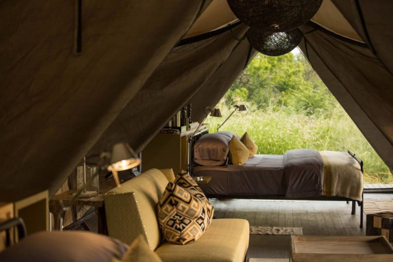 Eco luxury guest tent at Gomoti Plains with a view