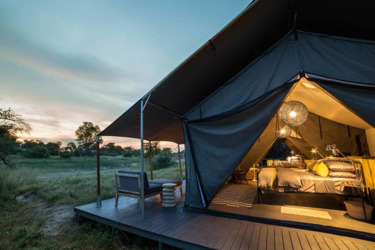 Angled view of guest tent and private deck at Gomoti Plains