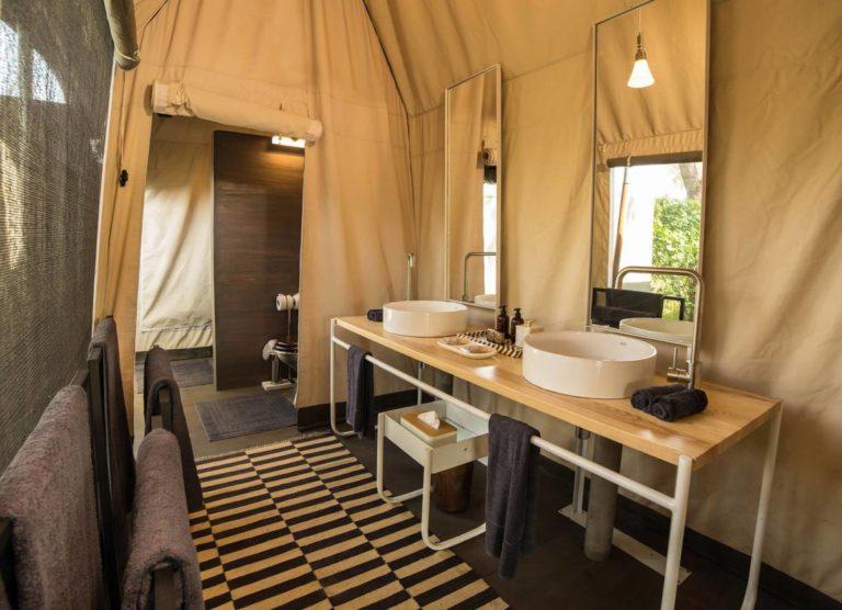 Gomoti Plains twin basins in en suite guest bathroom