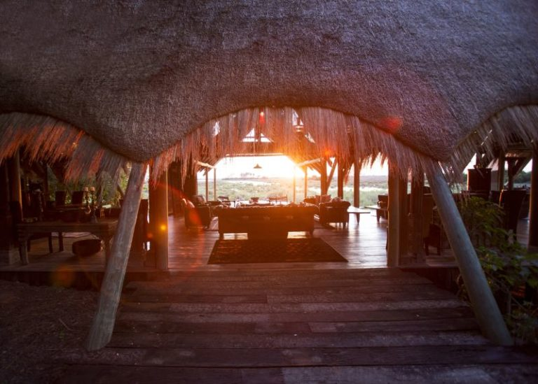 A glimpse of the landscape through the thatch at Selinda's main area