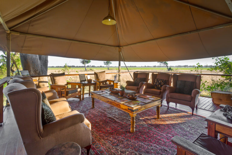 The main lounge area at Kadizora Camp overlooks the plains
