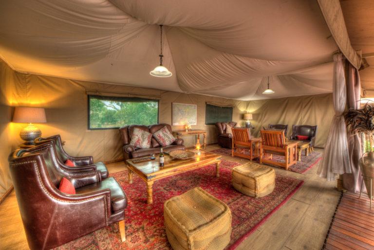 The elegant lounge area at Kadizora Camp