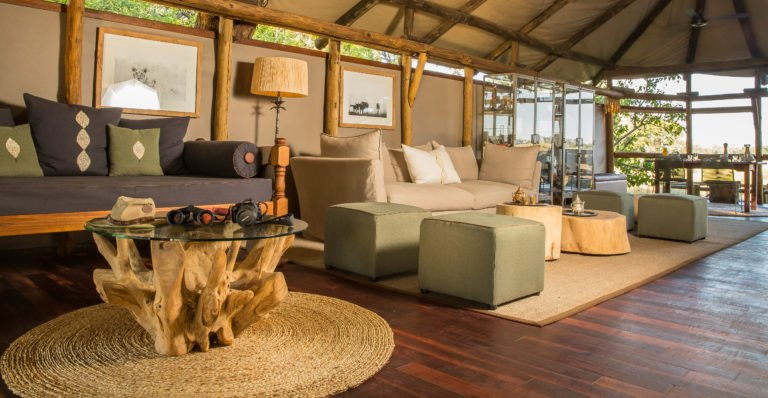 Open welcoming lounge area for guests at Kanana Camp