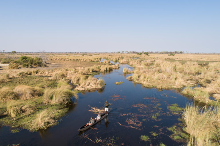 Navigating the water channels by traditional mokoro from Kanana Camp