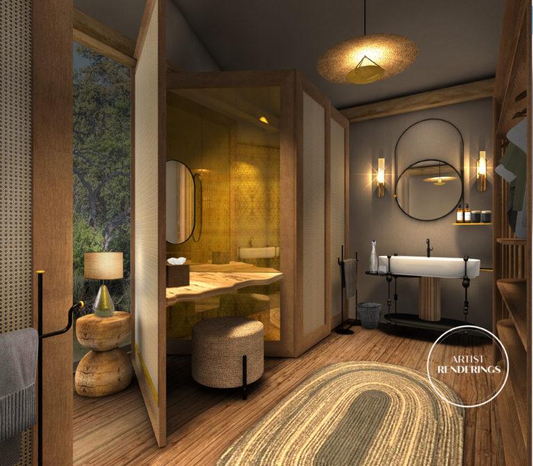 Khwai Leadwood bathroom with a view artist's impression