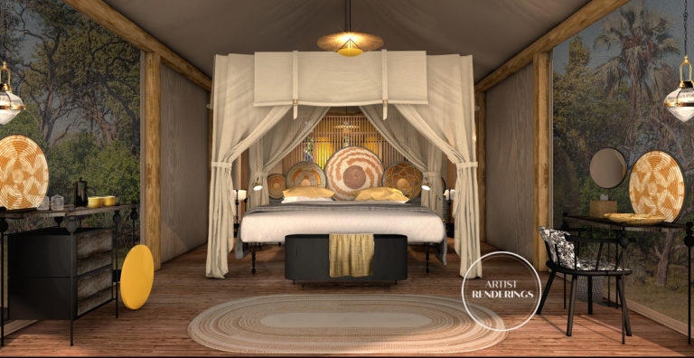 Image of guest tent interior at Khwai Leadwood