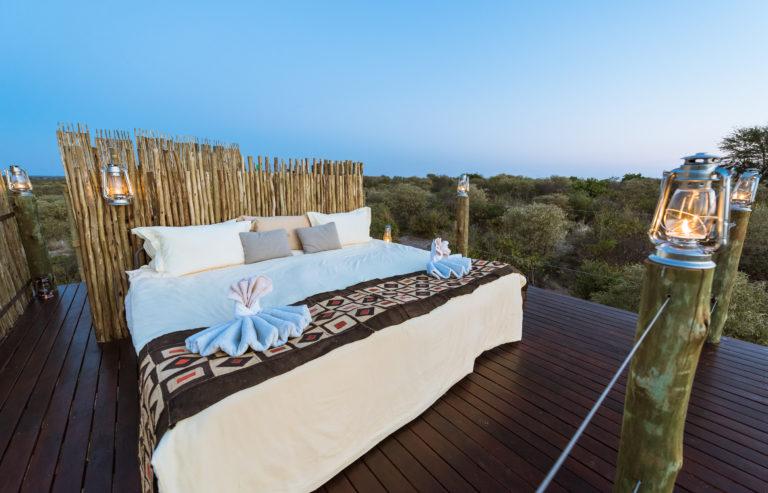 Tau Pan's sleep out deck allows guests to sleep under Kalahari skies