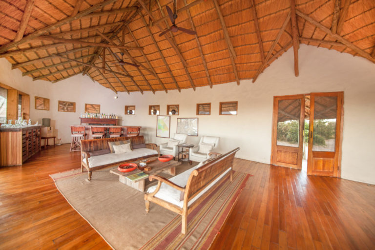 The vast guest lounge area at Tau Pan Camp